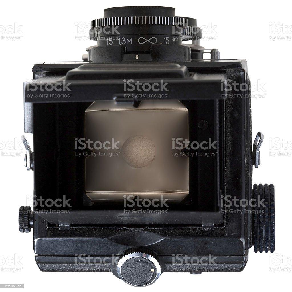 mat focus glass in retro camera stock photo