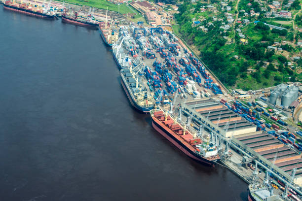 matadi, the main sea port of congo - republic of the congo stock photos and pictures