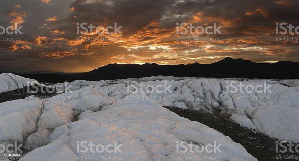 Matanuska Glacier sunset, panoramic stock photo