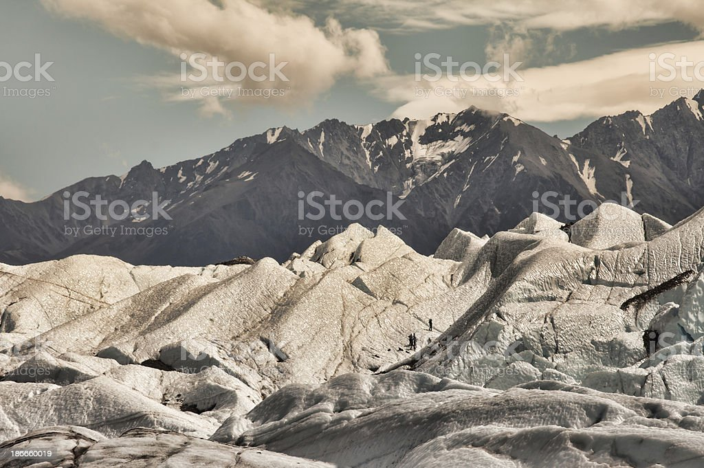Matanuska glacier with climbers stock photo