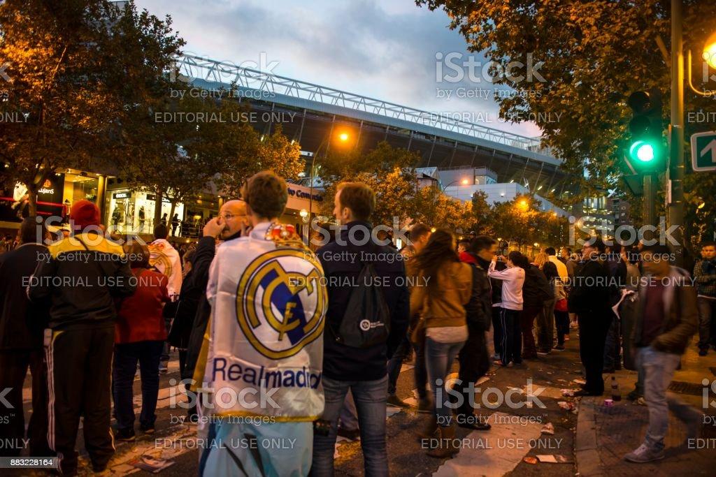 Match day in Santiago Bernabeu stadium stock photo