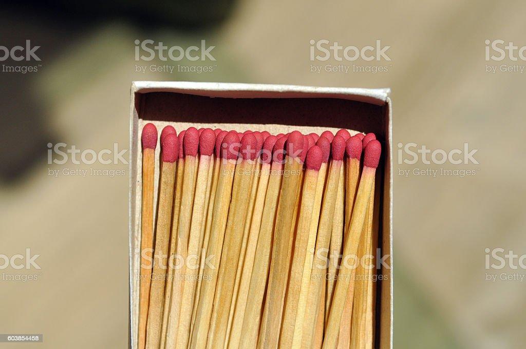 Match head in box stock photo
