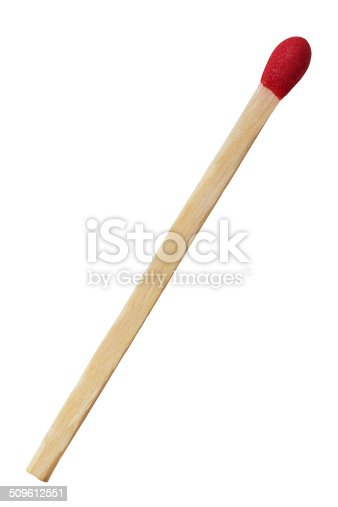 Close up of single match isolated on white background