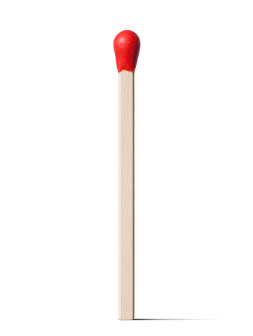 Red match stick on white background.