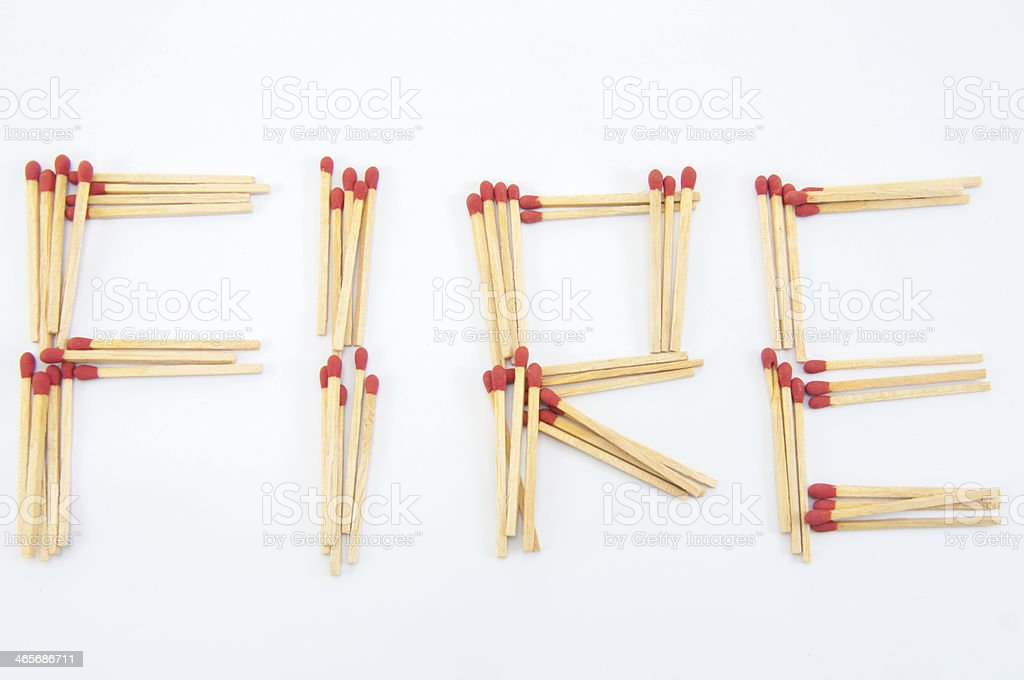 match written fire on white background stock photo