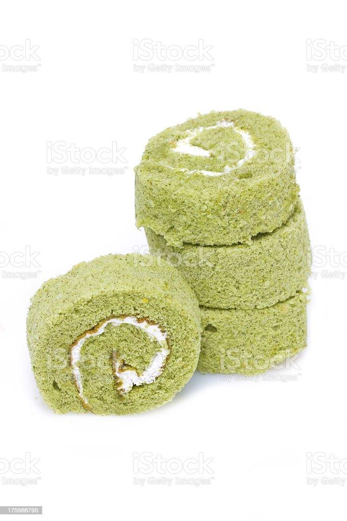 Matcha cake rolls isolated on white. stock photo