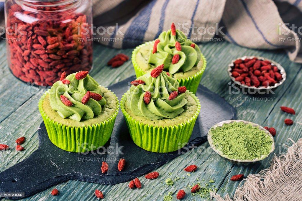 Matcha cup cakes stock photo