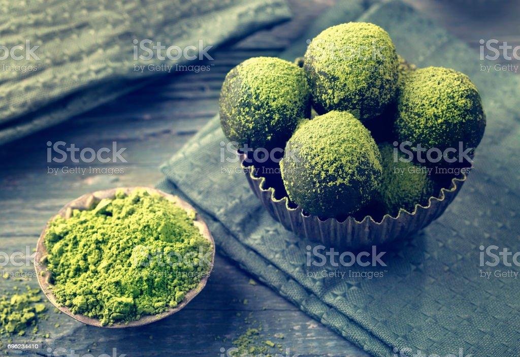 Matcha energy balls stock photo