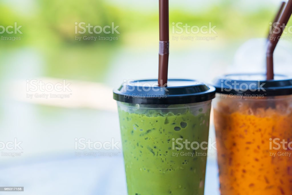 Matcha green tea ice and chathai tea ice. zbiór zdjęć royalty-free