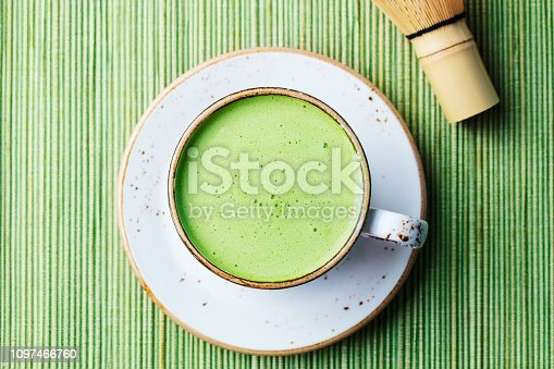 Matcha green tea latte in a cup. Top view. Close up