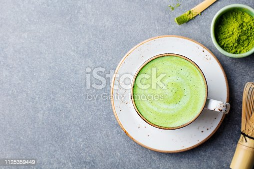 Matcha green tea latte in a cup. Top view. Copy space