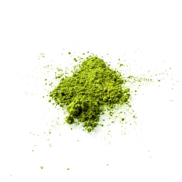 抹茶グリーン ティー ホワイト バック グラウンド トップ ビューに。 - 抹茶 ストックフォトと画像