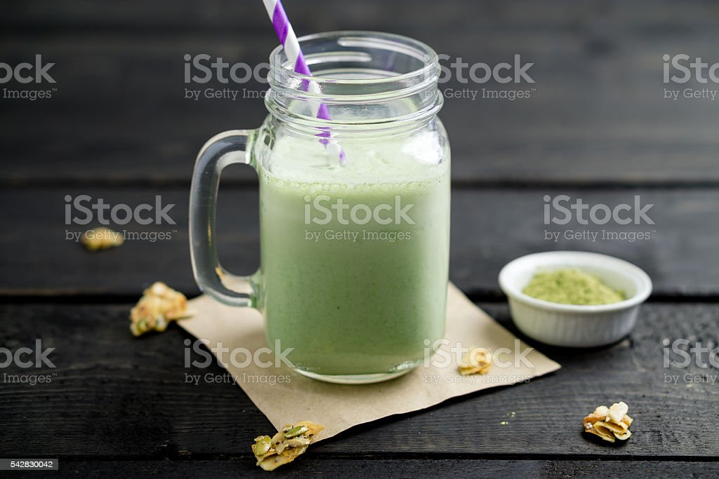 Matcha green tea smoothie stock photo