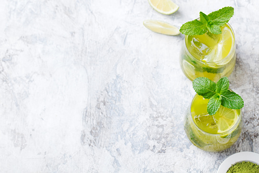 istock Matcha iced green tea with lime and fresh mint 537390958