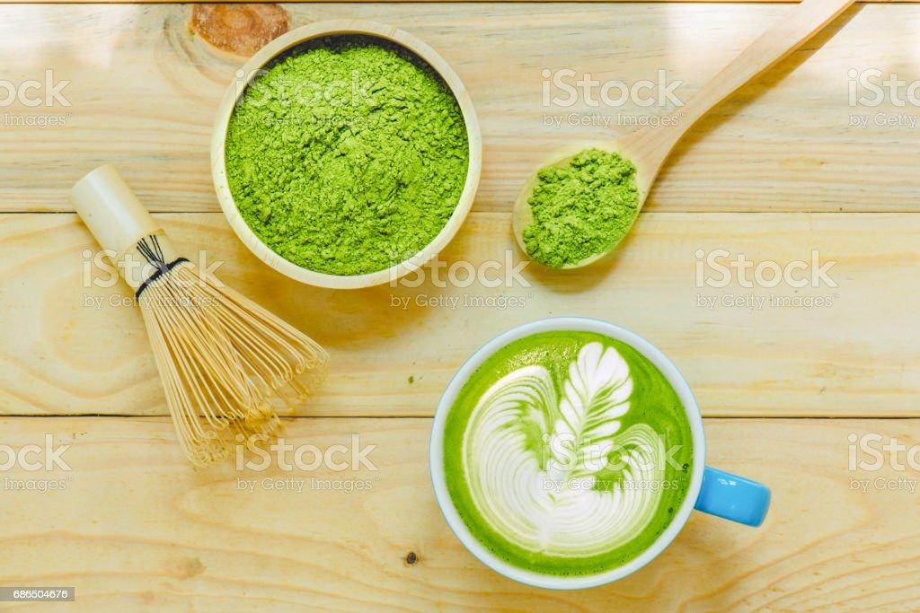 Matcha latte and matcha green tea royaltyfri bildbanksbilder