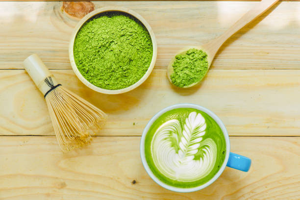Matcha latte and matcha green tea stock photo