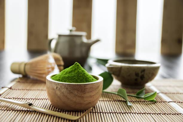 抹茶。有機緑茶抹茶式。抹茶粉末。抹茶の料理レシピ - 抹茶 ストックフォトと画像