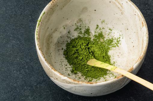 Matcha powder and chashaku bamboo spoon.