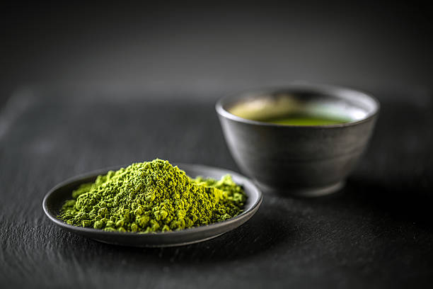 Matcha, powder green tea stock photo
