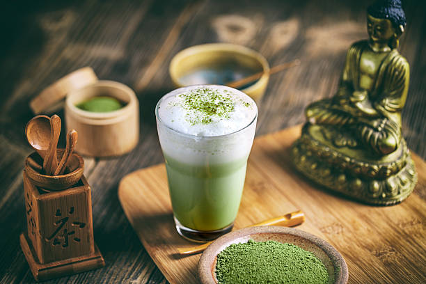 Matcha tea latte stock photo