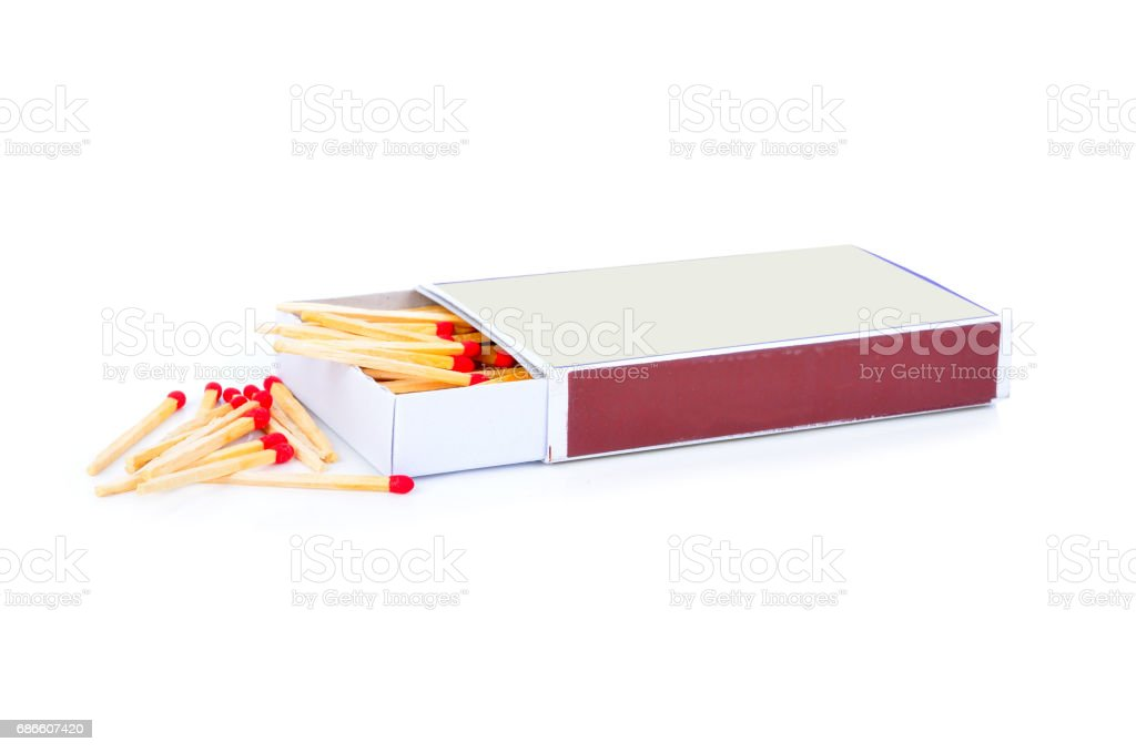 Matchbox with red matches royalty-free stock photo