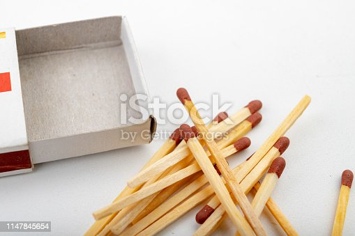 Matches for lighting a fire. Accessories in needed at a domestic farm. Light background.