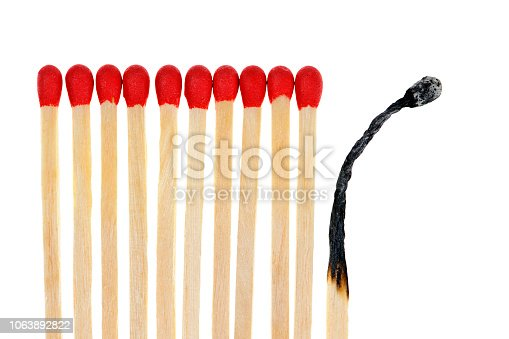 istock Matches with one burned out 1063892822