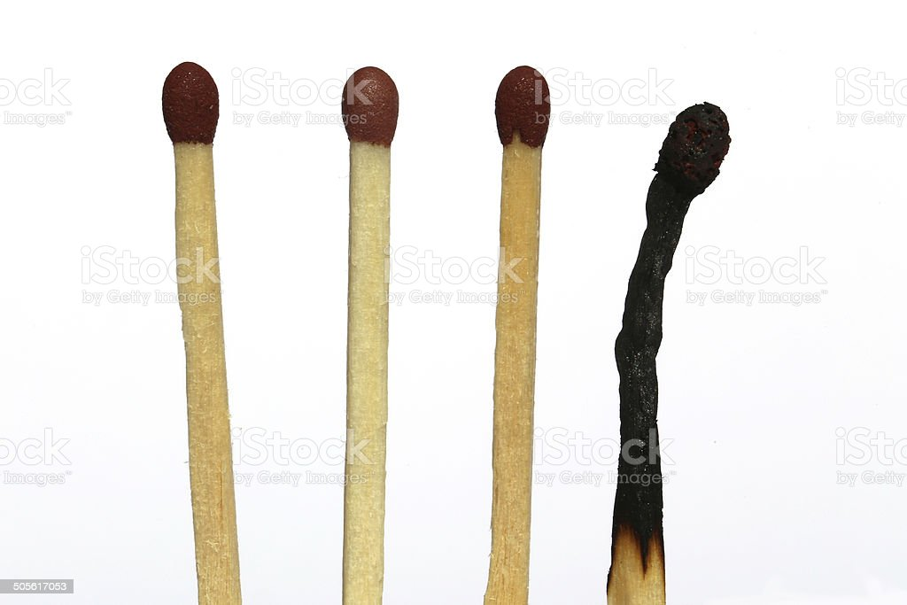 Matches with one burned out stock photo