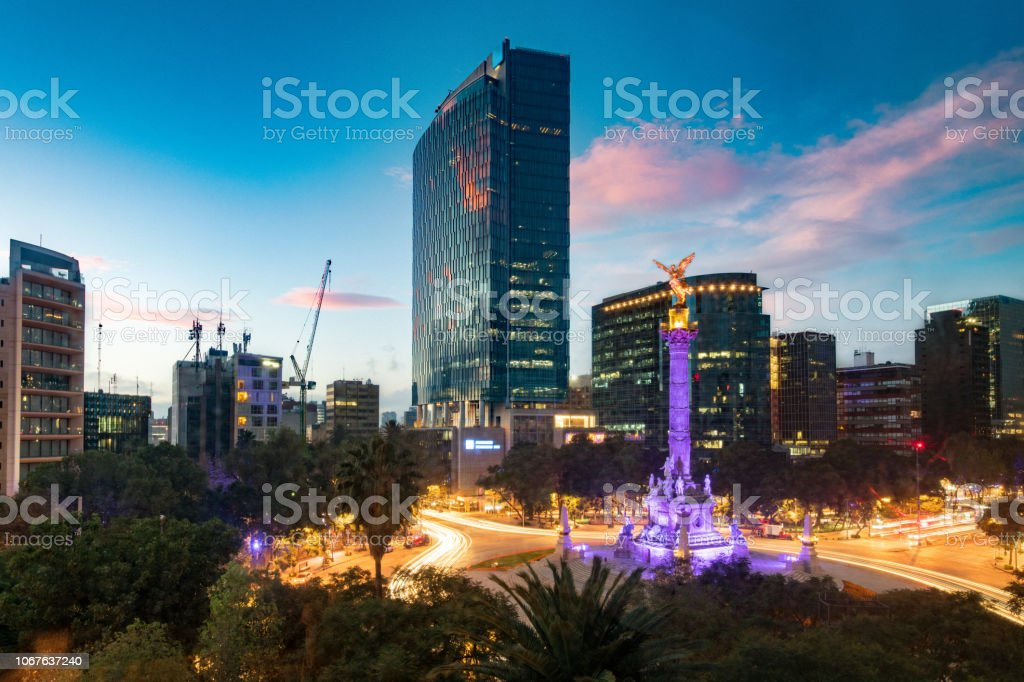 Matching Day and Night Mexico City Skyline stock photo