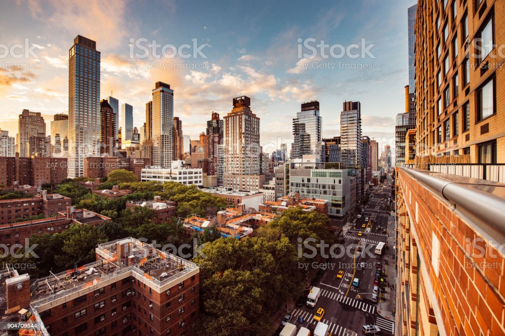 Matching Day & Night New York Skyline stock photo