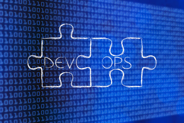 matching pieces of puzzle with text DevOps, stock photo