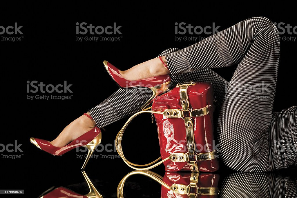 Matching red shoes and bag royalty-free stock photo