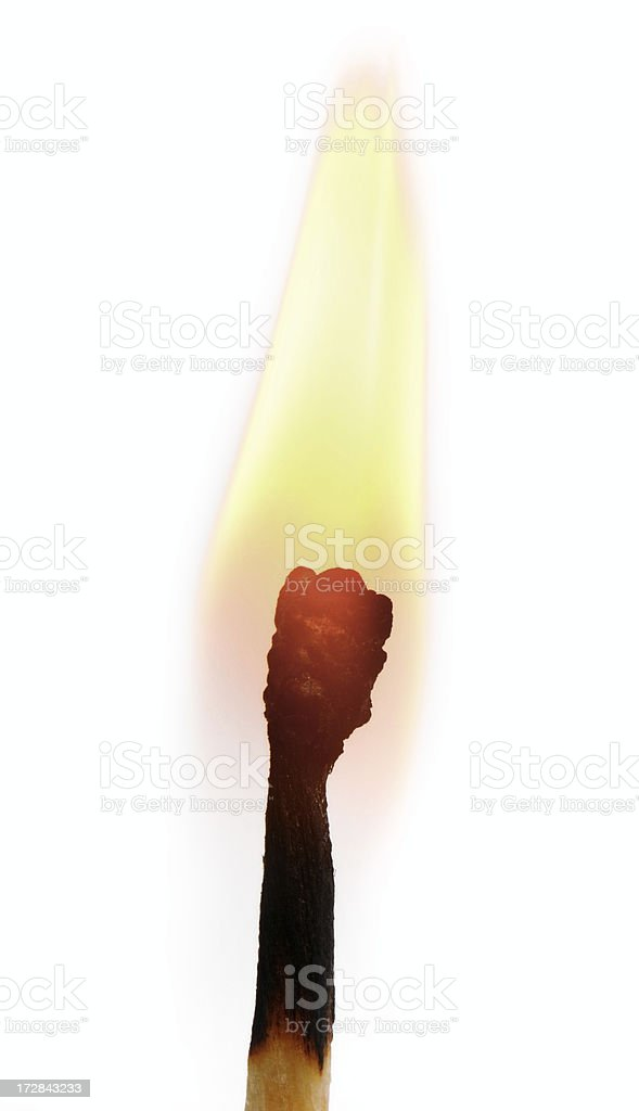 matchstick on fire stock photo