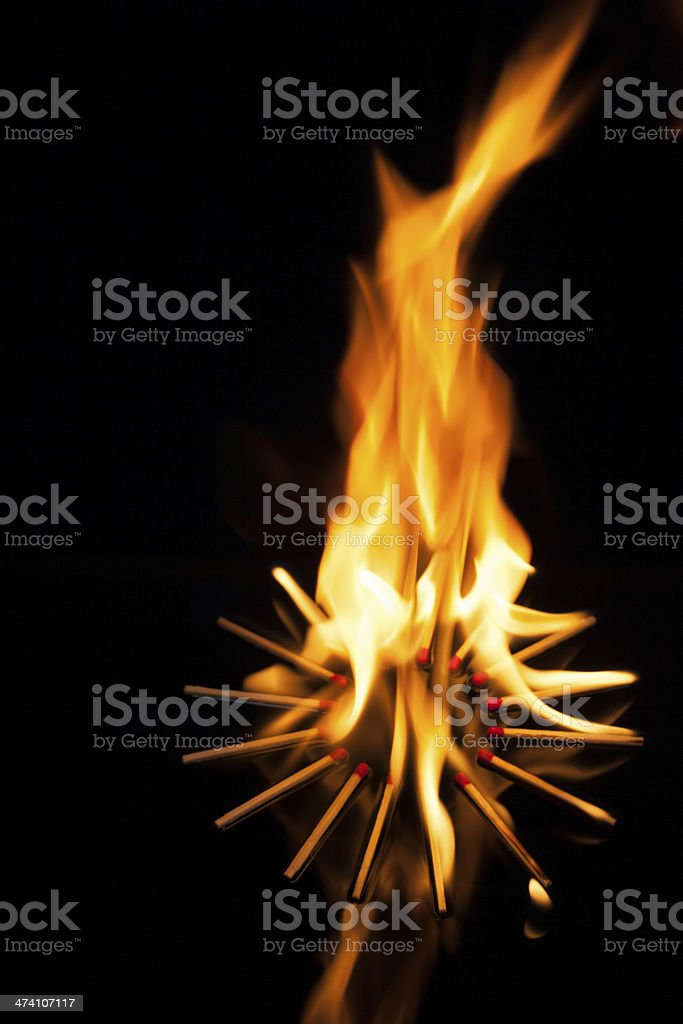 Matchstick with Fire Flame royalty-free stock photo
