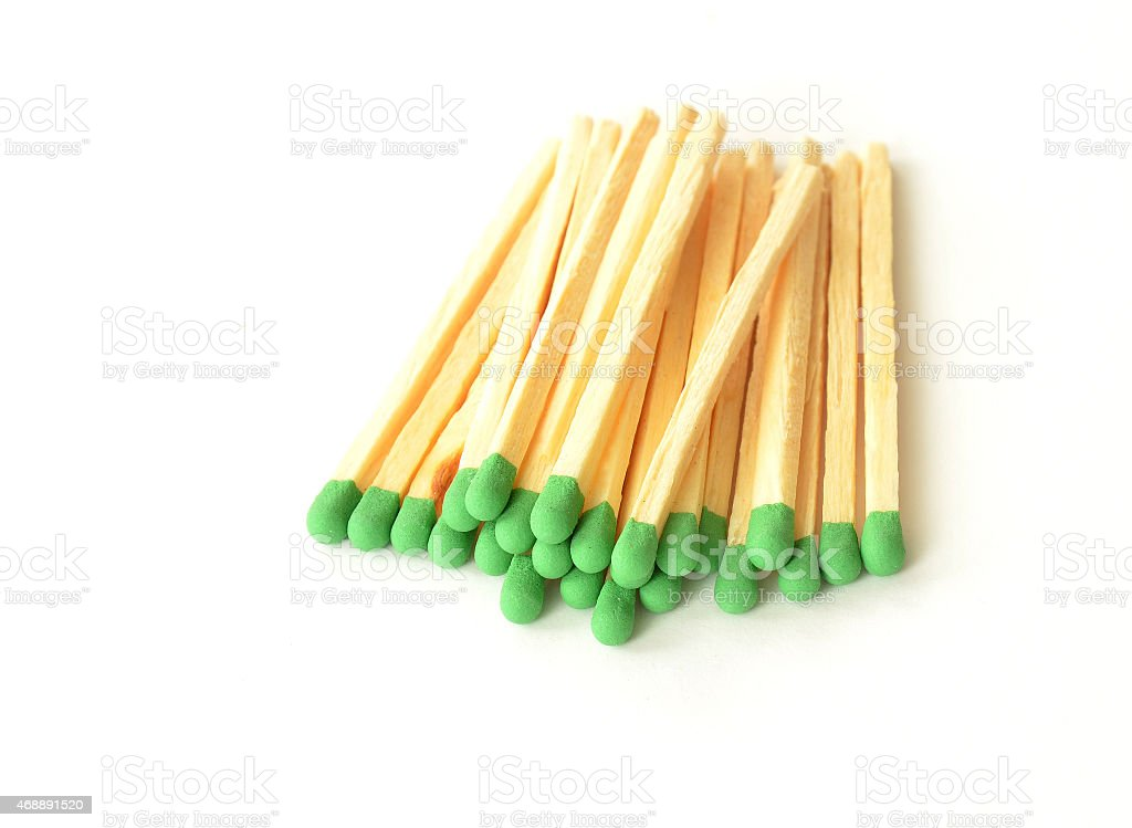 Matchsticks with green head stock photo