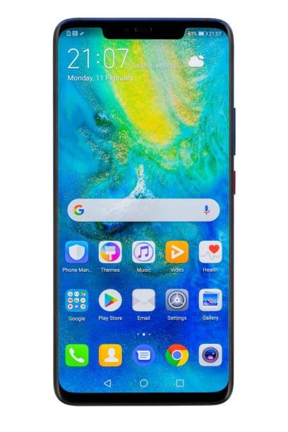 huawei mate 20 pro twilight smartphone isolated on white background - huawei foto e immagini stock