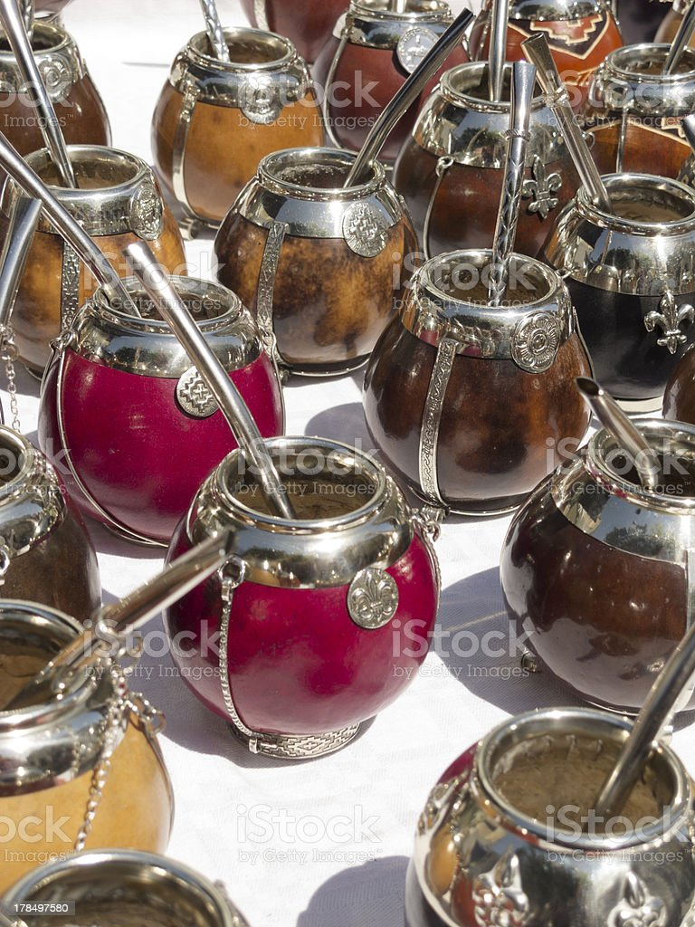 Mate calabash cups sale in San telmo. royalty-free stock photo
