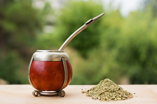 mate, mate grass (yerba mate) with trees in the background
