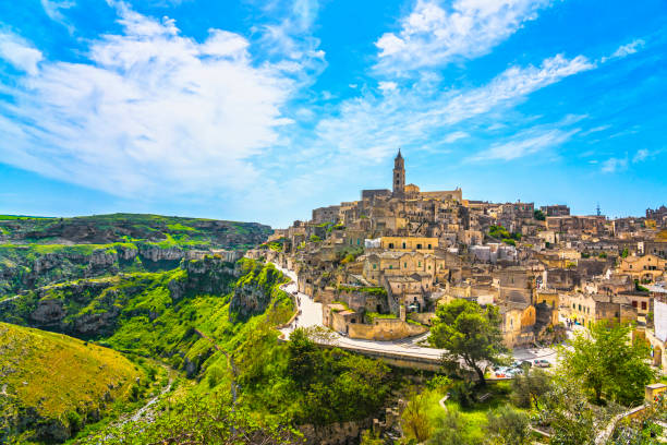 Matera ancient town i Sassi, Unesco site landmark. Basilicata, Italy. Matera ancient town i Sassi, Unesco world heritage site landmark. Basilicata, Italy, Europe matera italy stock pictures, royalty-free photos & images