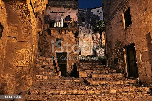 Matera, Basilicata, Italy: picturesque ancient alley at night in the old town