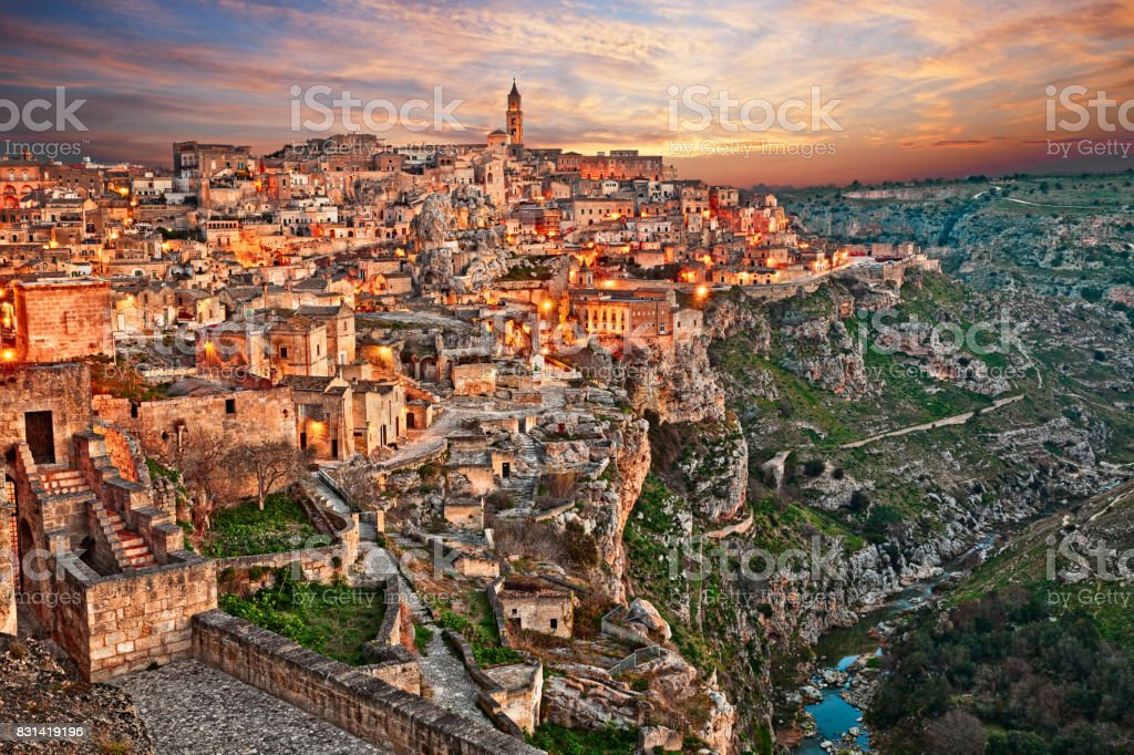Matera, Basilicata, Italy: landscape of the old town royalty-free stock photo