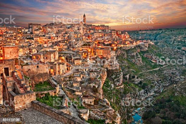 Matera Basilicata Italy Landscape Of The Old Town Stock Photo - Download Image Now