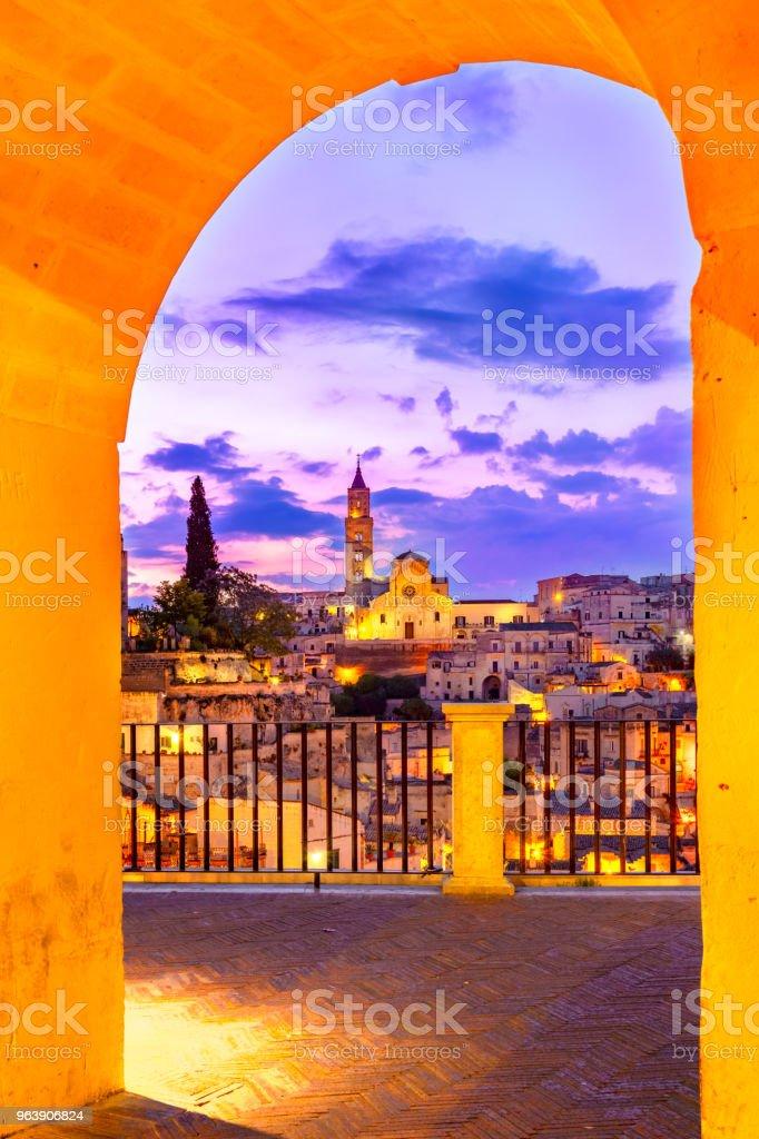 Matera, Basilicata, Italy: Night view of the old town - Sassi di Matera - Royalty-free Ancient Stock Photo