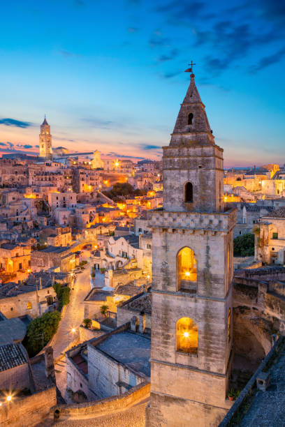 Matera, Italy. Cityscape image of medieval city of Matera, Italy during beautiful sunrise. matera italy stock pictures, royalty-free photos & images