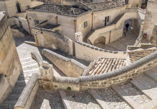 Matera (Basilicata, Italy) Matera, Italy - 16 May 2018 - The historic center of the wonderful stone city of southern Italy, Basilicata region, a tourist attraction for the famous