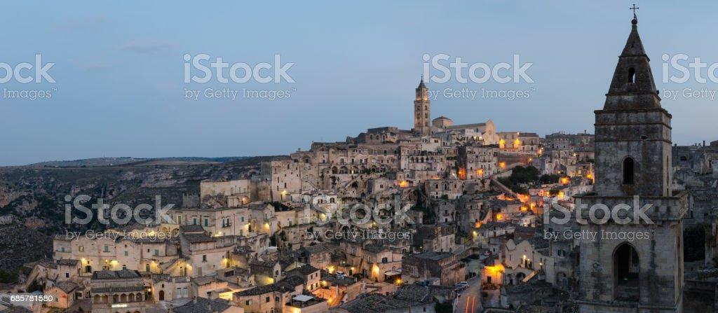 Matera (Basilicata Italy) Sasso Barisano at twilight royalty-free stock photo