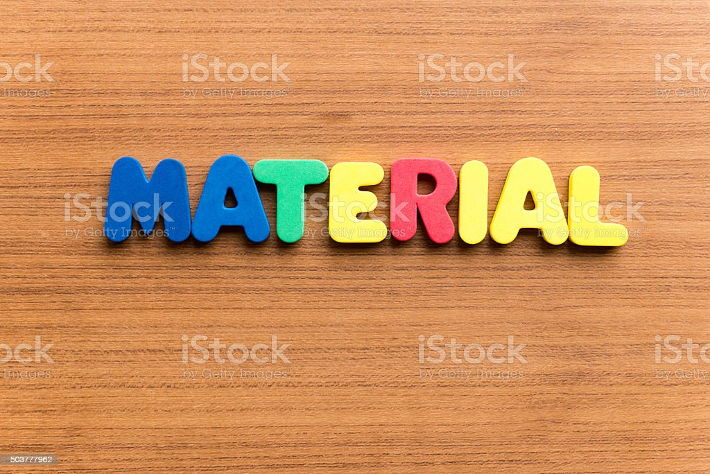material  colorful word stock photo