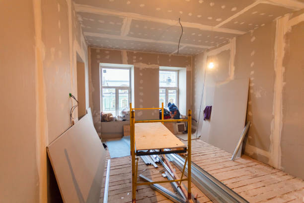 Material for repairs in an apartment is under construction, remodeling, rebuilding and renovation. Making walls from gypsum plasterboard or drywall. stock photo