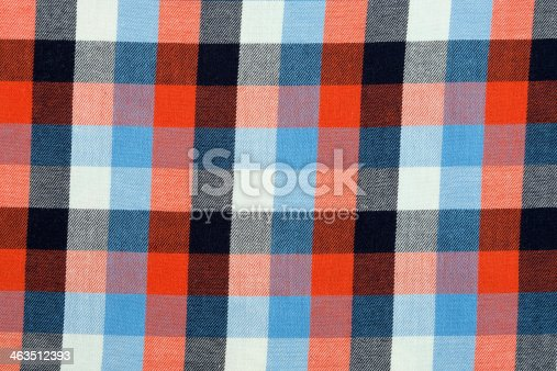 Material in a colorful plaid, a textile background.