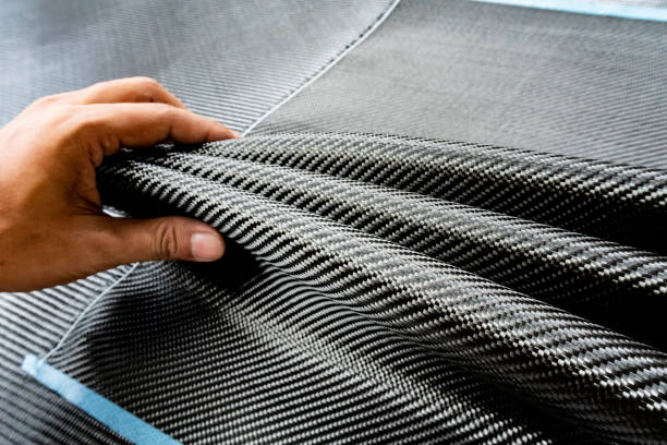 Material of composite product dark carbon fiber - foto stock